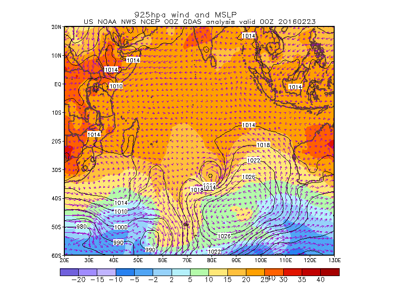 latest MSLP, 925mb Temp & winds