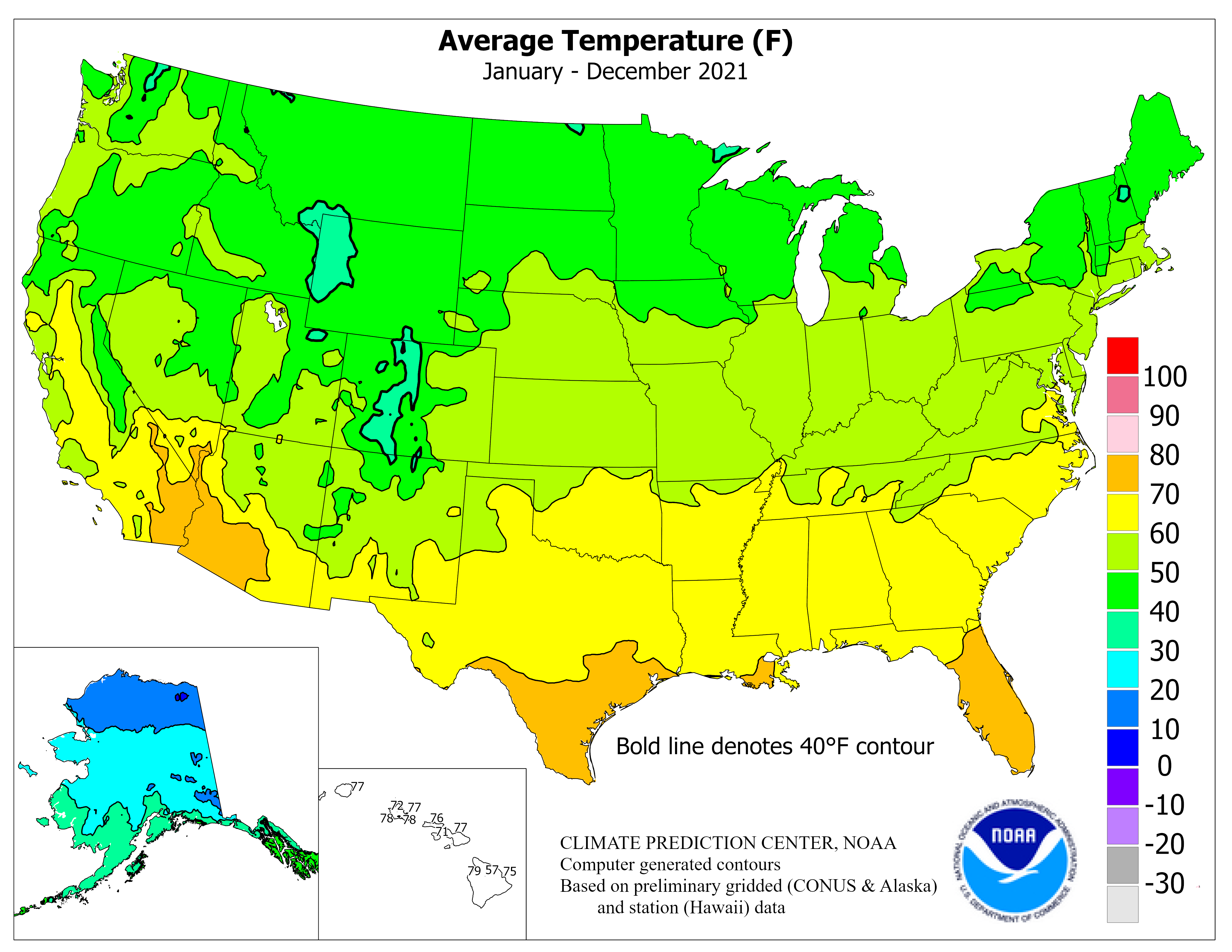 Climate Prediction Center Monitoring And Data Regional Climate - Average temp map us