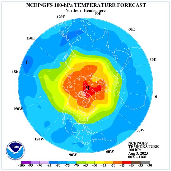 Previsione a 168 ore delle temperature a 100 hPa nell'emisfero nord