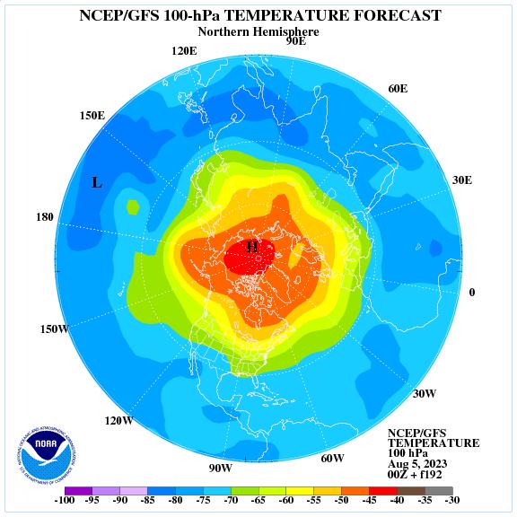 Previsione a 192 ore delle temperature a 100 hPa nell'emisfero nord