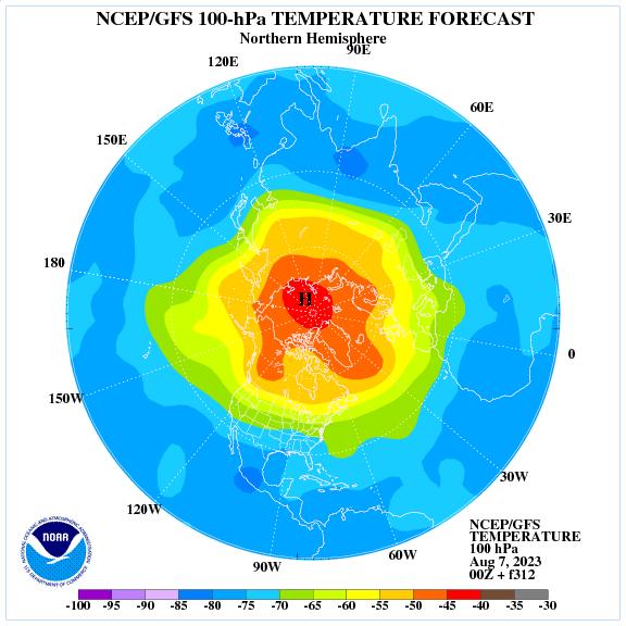 Previsione a 312 ore delle temperature a 100 hPa nell'emisfero nord