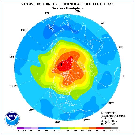 Previsione a 336 ore delle temperature a 100 hPa nell'emisfero nord