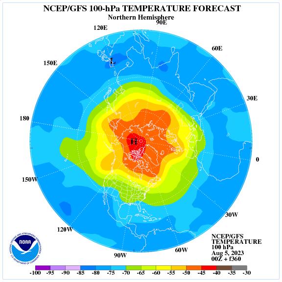 Previsione a 360 ore delle temperature a 100 hPa nell'emisfero nord