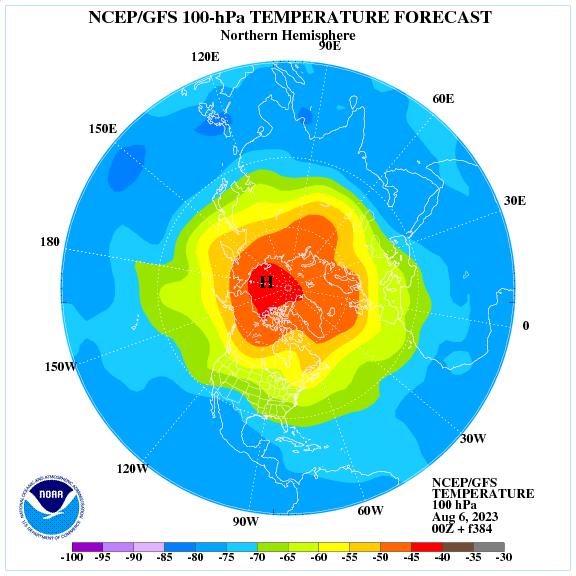Previsione a 384 ore delle temperature a 100 hPa nell'emisfero nord