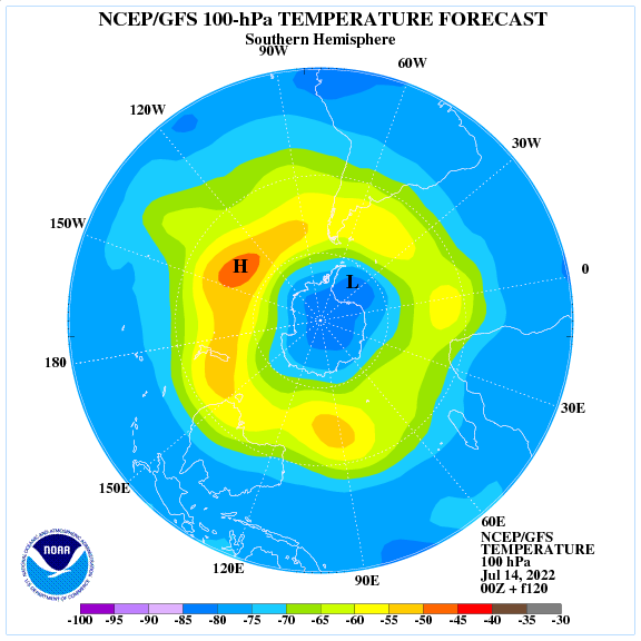Previsione a 120 ore delle temperature a 100 hPa nell'emisfero sud