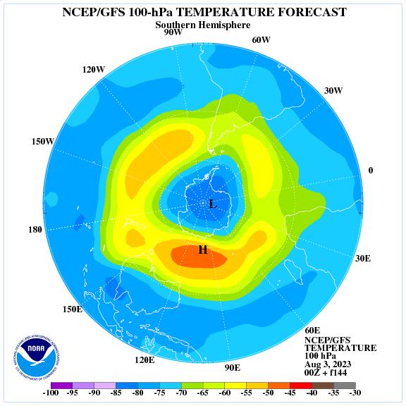 Previsione a 144 ore delle temperature a 100 hPa nell'emisfero sud