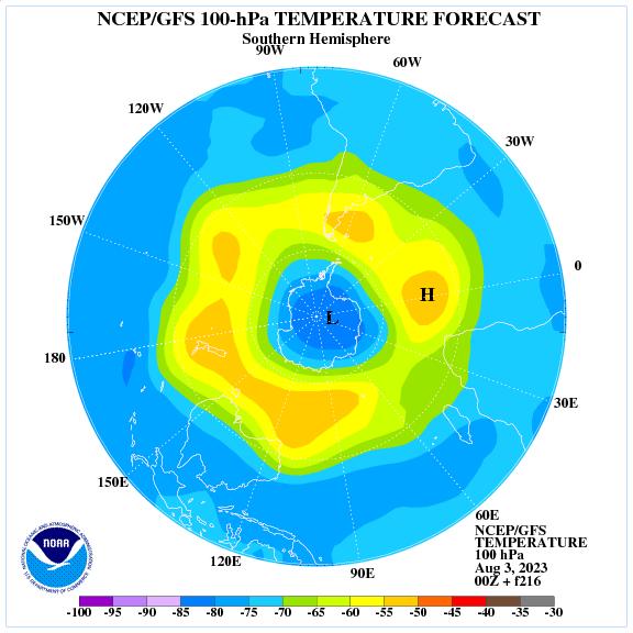 Previsione a 216 ore delle temperature a 100 hPa nell'emisfero sud