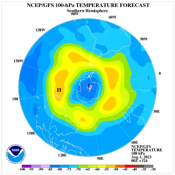 Previsione a 24 ore delle temperature a 100 hPa nell'emisfero sud