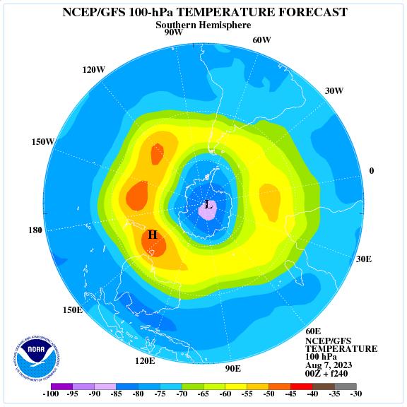Previsione a 240 ore delle temperature a 100 hPa nell'emisfero sud