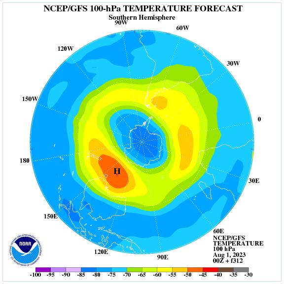 Previsione a 312 ore delle temperature a 100 hPa nell'emisfero sud