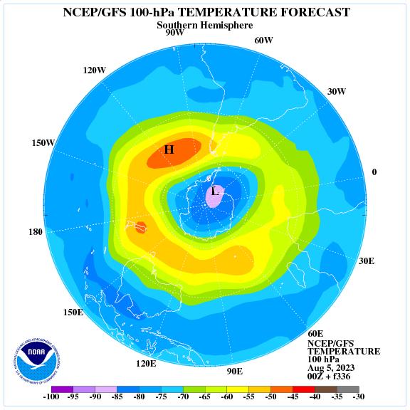Previsione a 336 ore delle temperature a 100 hPa nell'emisfero sud