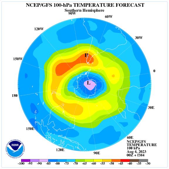 Previsione a 384 ore delle temperature a 100 hPa nell'emisfero sud