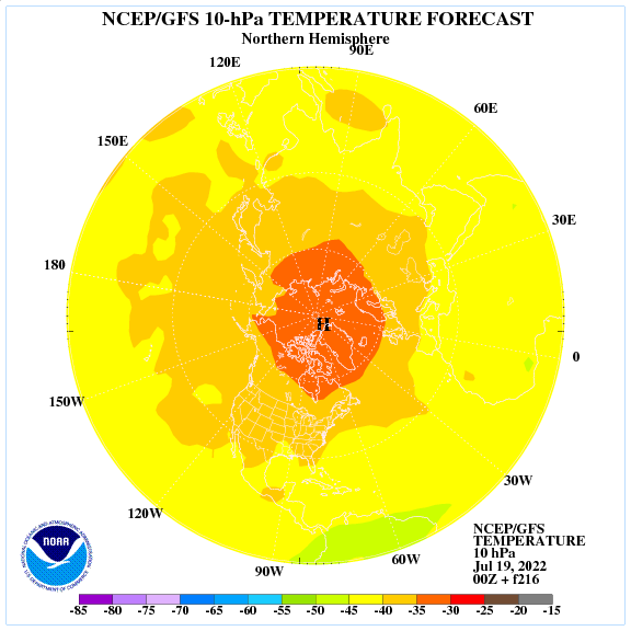 Previsione a 216 ore delle temperature a 10 hPa nell'emisfero nord