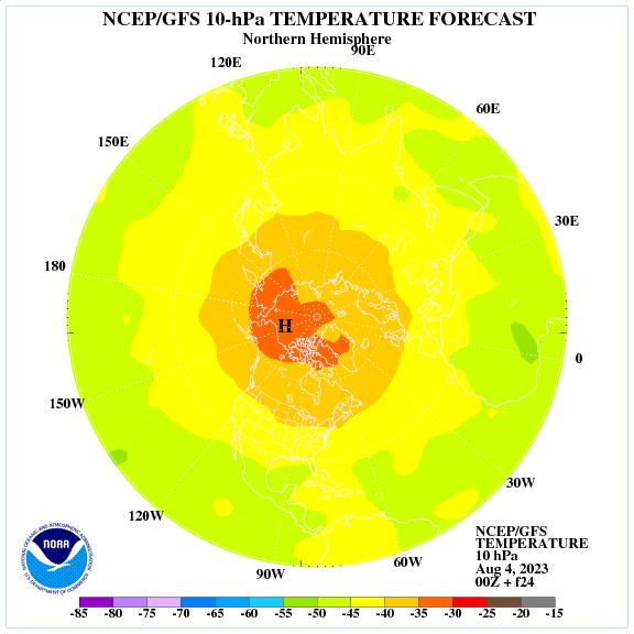 Previsione a 24 ore delle temperature a 10 hPa nell'emisfero nord