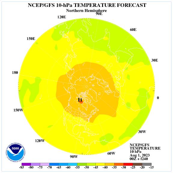 Previsione a 240 ore delle temperature a 10 hPa nell'emisfero nord