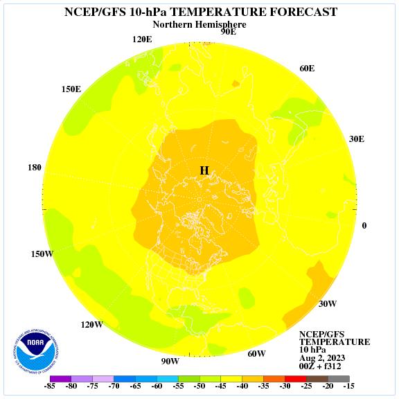 Previsione a 312 ore delle temperature a 10 hPa nell'emisfero nord