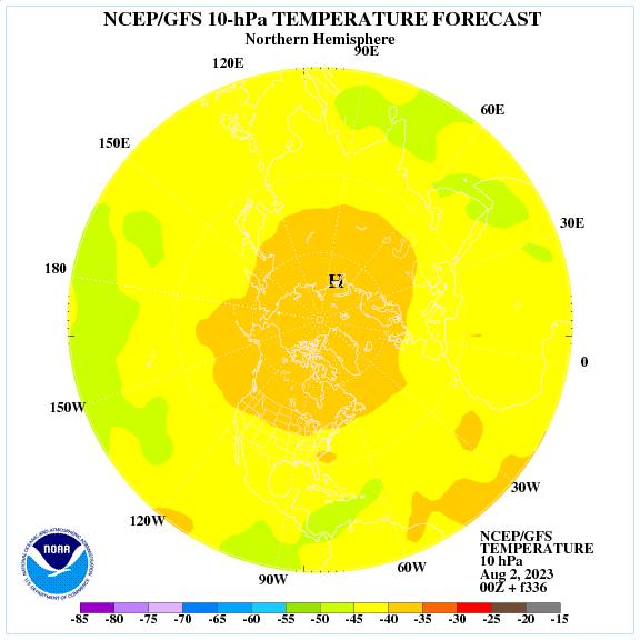 Previsione a 336 ore delle temperature a 10 hPa nell'emisfero nord