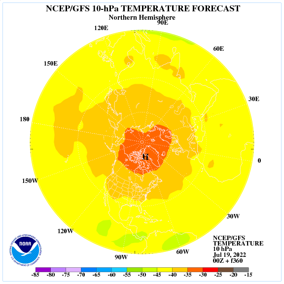 Previsione a 360 ore delle temperature a 10 hPa nell'emisfero nord