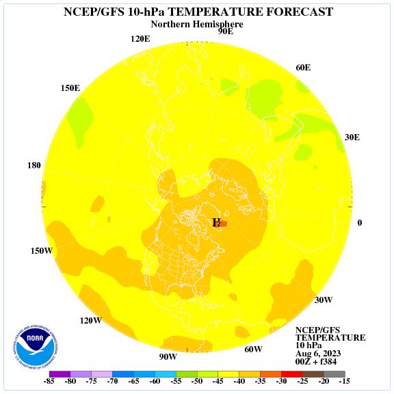 Previsione a 384 ore delle temperature a 10 hPa nell'emisfero nord