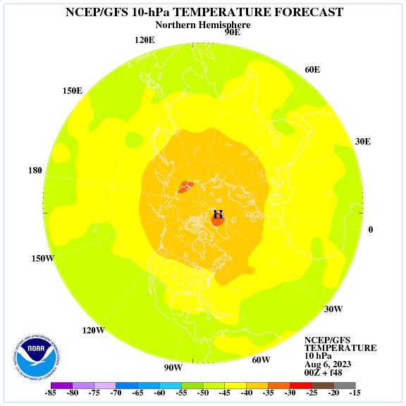 Previsione a 48 ore delle temperature a 10 hPa nell'emisfero nord