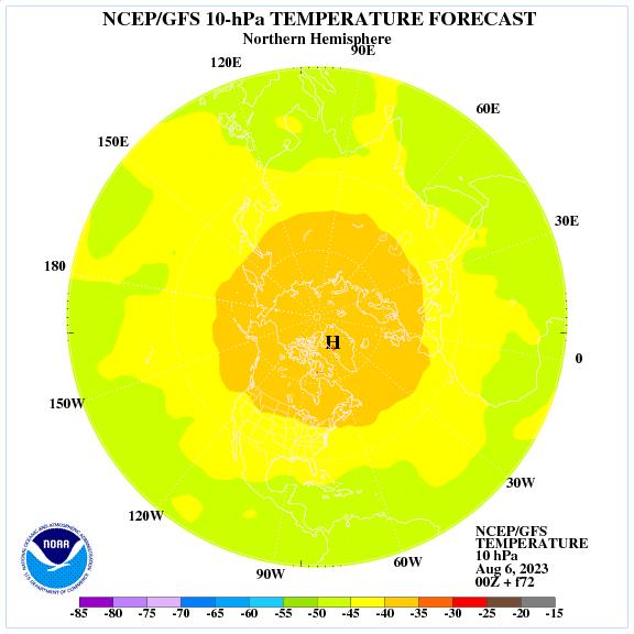 Previsione a 72 ore delle temperature a 10 hPa nell'emisfero nord