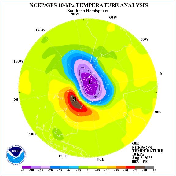 Analisi temperature a 10 hPa nell'emisfero nord