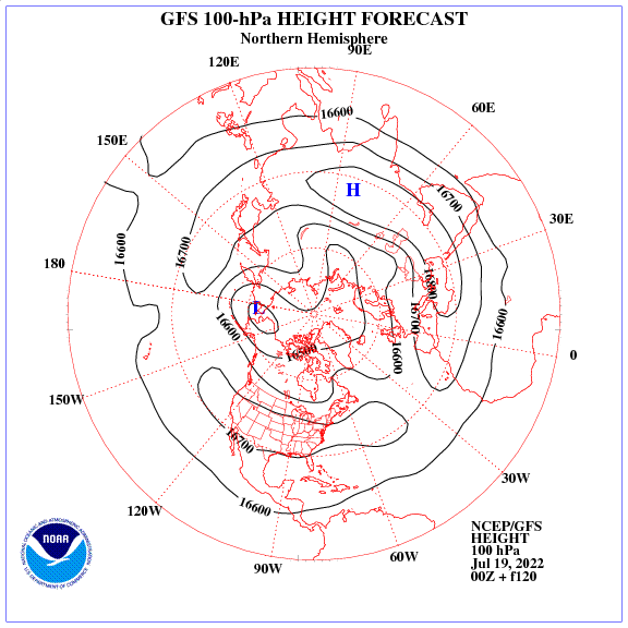 Previsione a 120 ore dei geopotenziale a 100 hPa nell'emisfero nord