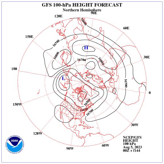 Previsione a 144 ore dei geopotenziale a 100 hPa nell'emisfero nord