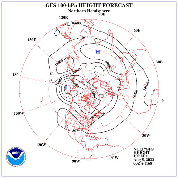 Previsione a 168 ore dei geopotenziale a 100 hPa nell'emisfero nord