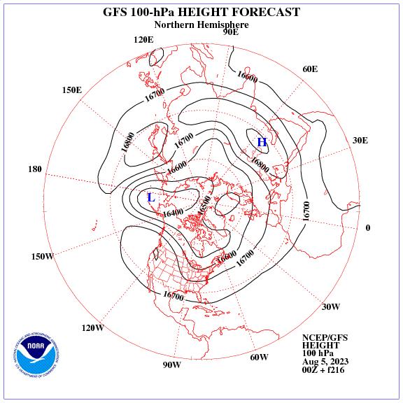 Previsione a 216 ore dei geopotenziale a 100 hPa nell'emisfero nord