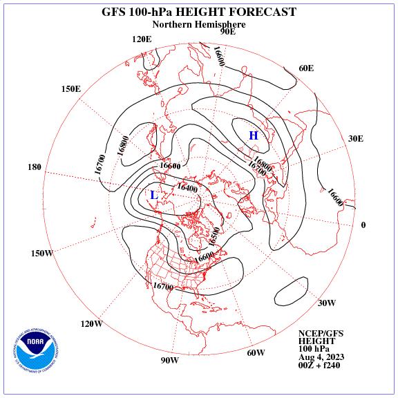 Previsione a 240 ore dei geopotenziale a 100 hPa nell'emisfero nord