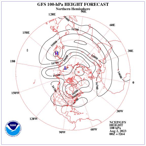 Previsione a 264 ore dei geopotenziale a 100 hPa nell'emisfero nord