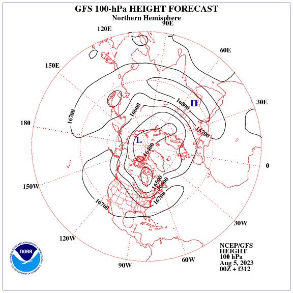 Previsione a 312 ore dei geopotenziale a 100 hPa nell'emisfero nord