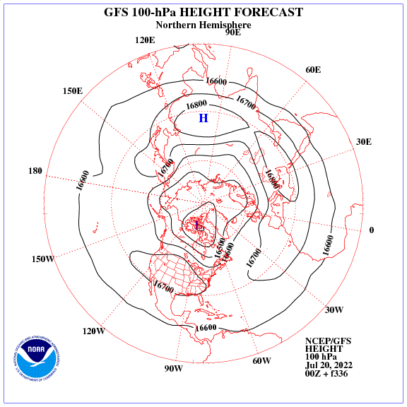 Previsione a 336 ore dei geopotenziale a 100 hPa nell'emisfero nord