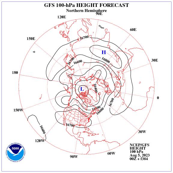 Previsione a 384 ore dei geopotenziale a 100 hPa nell'emisfero nord