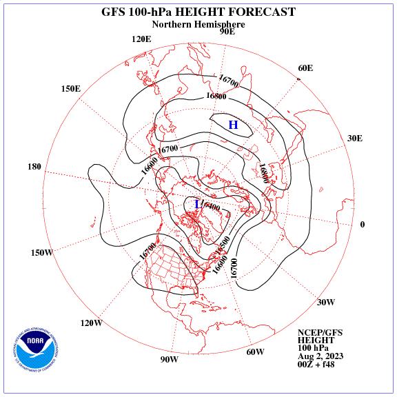 Previsione a 48 ore dei geopotenziale a 100 hPa nell'emisfero nord