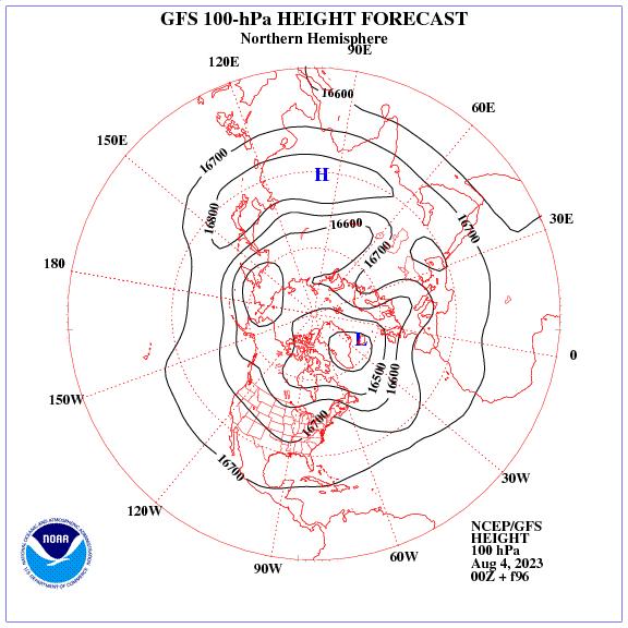 Previsione a 96 ore dei geopotenziale a 100 hPa nell'emisfero nord
