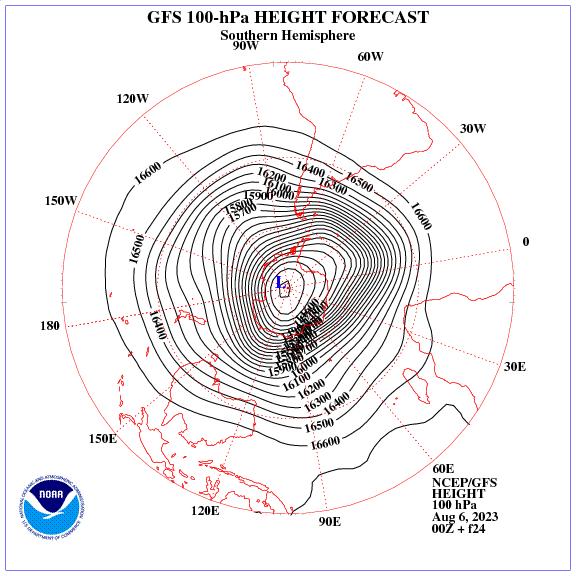 Previsione a 24 ore dei geopotenziale a 100 hPa nell'emisfero sud
