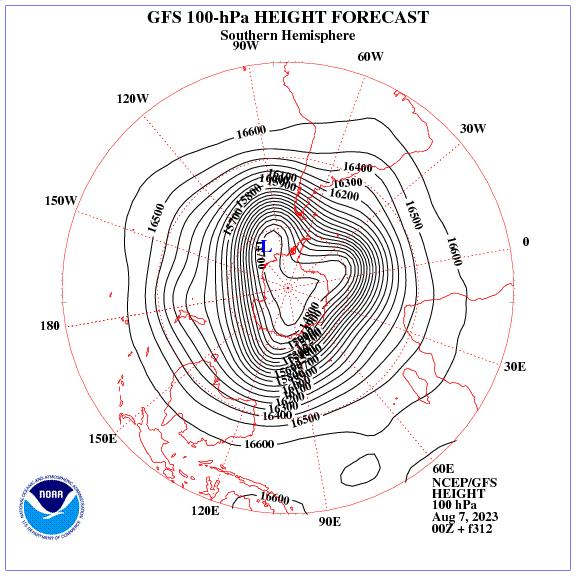 Previsione a 312 ore dei geopotenziale a 100 hPa nell'emisfero sud