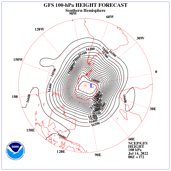 Previsione a 72 ore dei geopotenziale a 100 hPa nell'emisfero sud