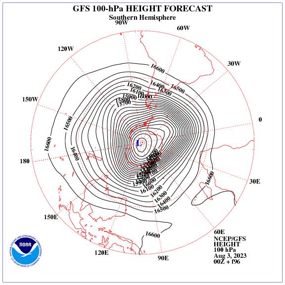 Previsione a 96 ore dei geopotenziale a 100 hPa nell'emisfero sud