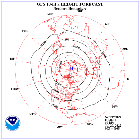 Previsione a 168 ore dei geopotenziale a 10 hPa nell'emisfero nord