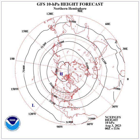 Previsione a 336 ore dei geopotenziale a 10 hPa nell'emisfero nord