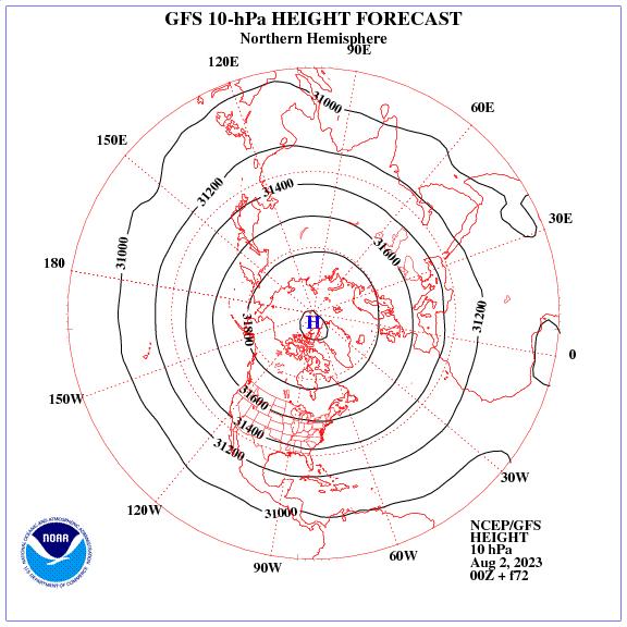 Previsione a 72 ore dei geopotenziale a 10 hPa nell'emisfero nord