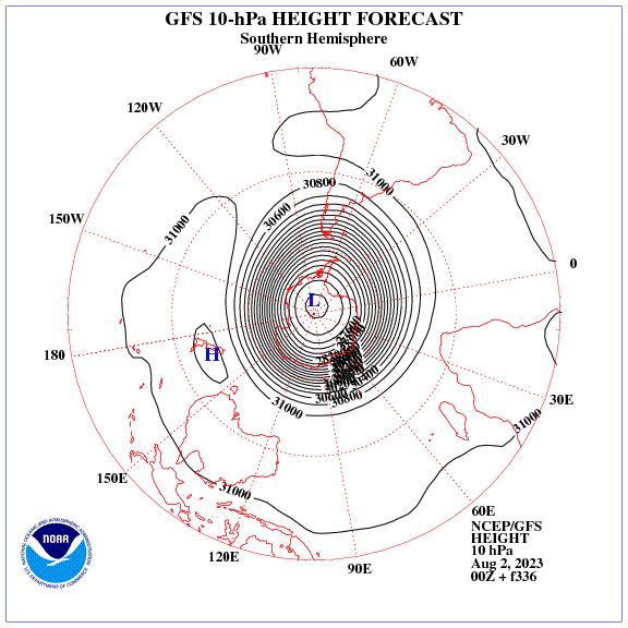 Previsione a 336 ore dei geopotenziale a 10 hPa nell'emisfero sud