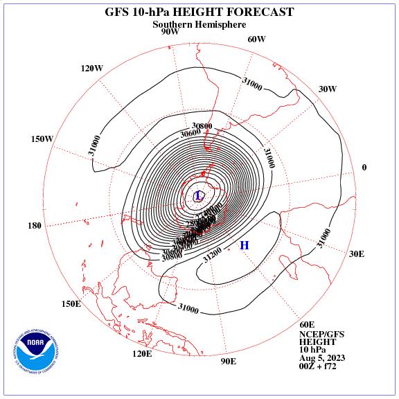 Previsione a 72 ore dei geopotenziale a 10 hPa nell'emisfero sud