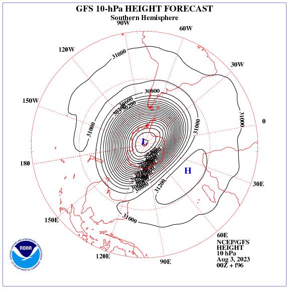 Previsione a 96 ore dei geopotenziale a 10 hPa nell'emisfero sud